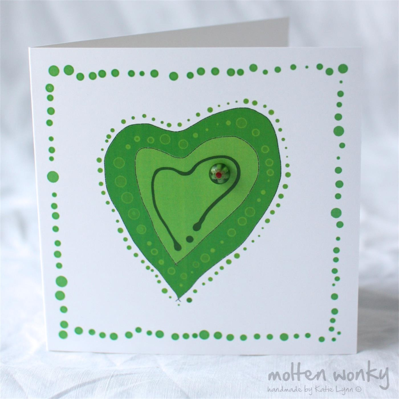 Bloblet Heart Green Fused Glass Handmade Gift Cards By Molten Wonky