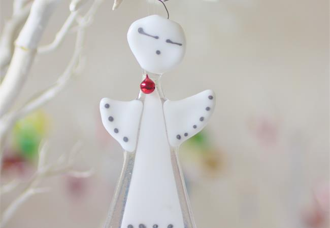 Handmade fused glass angel