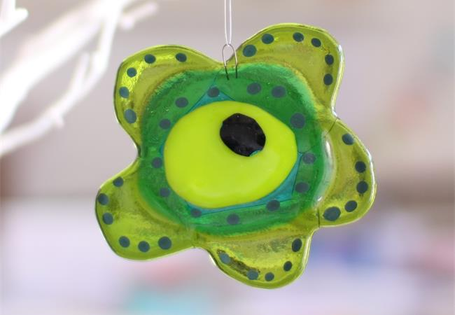 green fused glass flower