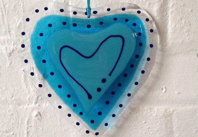 Big blue fused glass love heart hanging decoration made by molten wonky