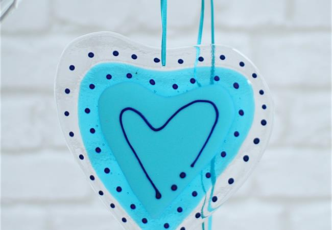 turquoise fused glass big heart