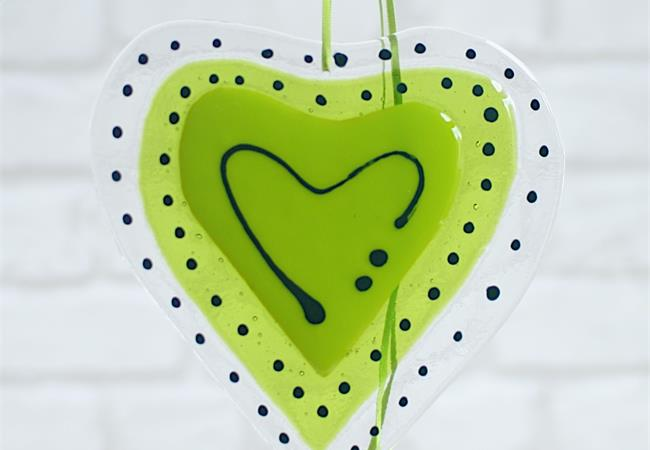 lime green fused glass big heart