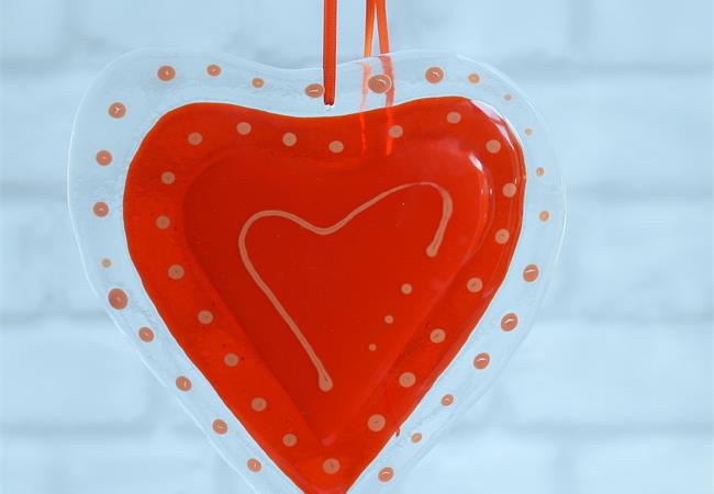 Big orange fused glass love heart