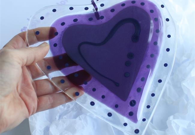 Giant handmade fused glass love heart