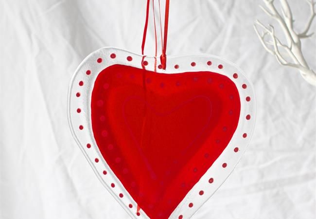 Big red fused glass love heart hanging decoration made by molten wonky
