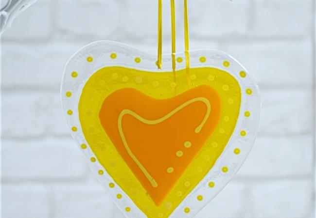 yellow fused glass big heart