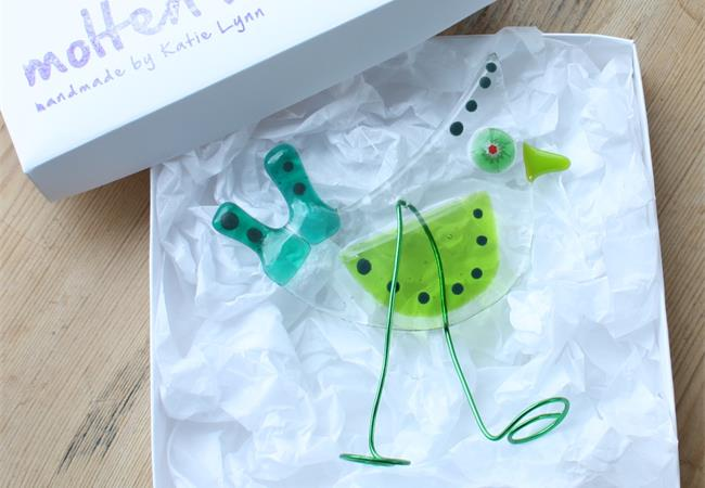 Green Birdy Bird fused glass hanging decoration made by molten wonky