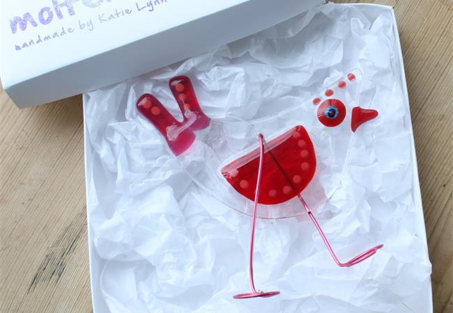 Red Birdy Bird fused glass hanging decoration made by molten wonky