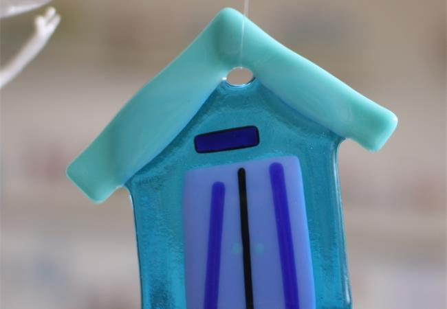 blue fused glass beach hut