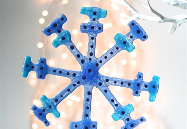 Blue fused glass snow flake hanging decoration made by molten wonky