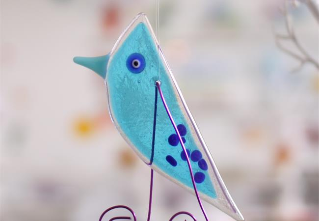 Blue Lala Bird hanging fused glass decoration handmade by Katie Lynn