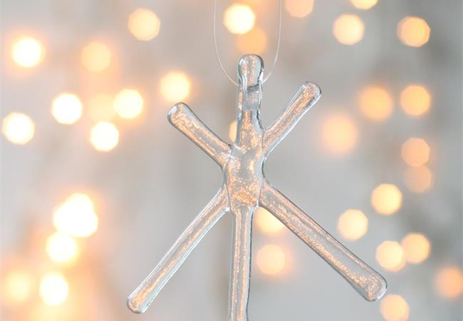 Clear Transparent fused glass star hanging decoration made by molten wonky