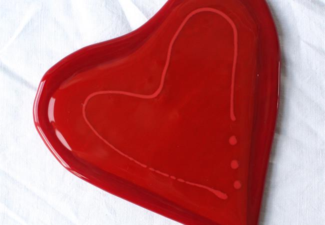 red fused glass love heart table coaster from molten wonky