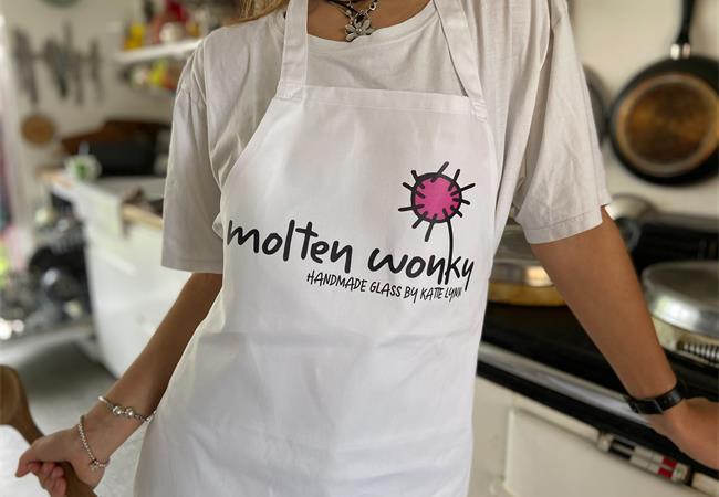 white molten wonky apron