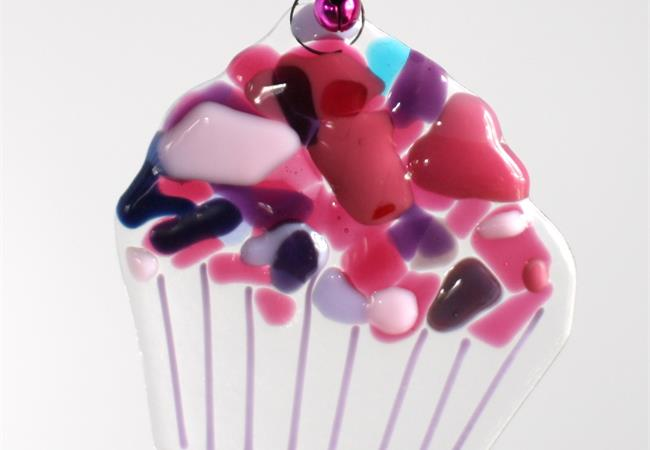 fused glass cupcake with crazy icing