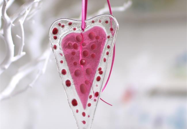 pink fused glass love heart decoration handmade by molten wonky