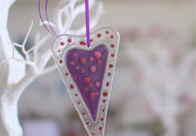 purple dotty fused glass love heart