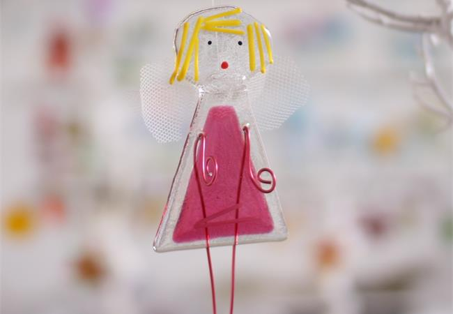 Fairy fused glass decoration