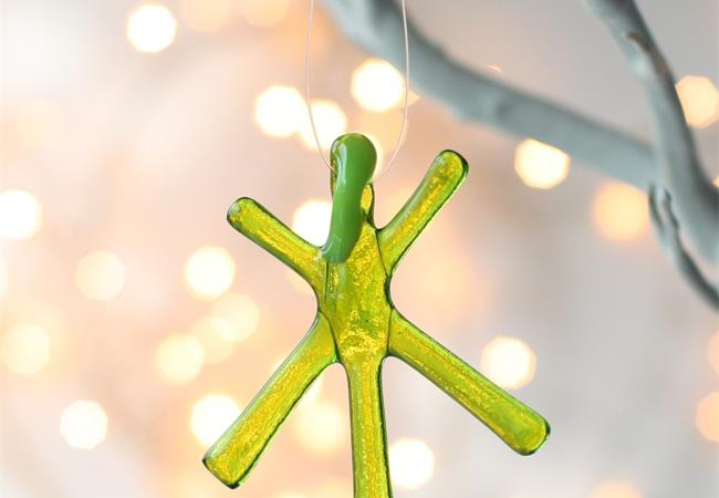 Green Transparent fused glass star hanging decoration made by molten wonky