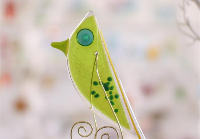 Green Lala Bird hanging fused glass decoration handmade by Katie Lynn