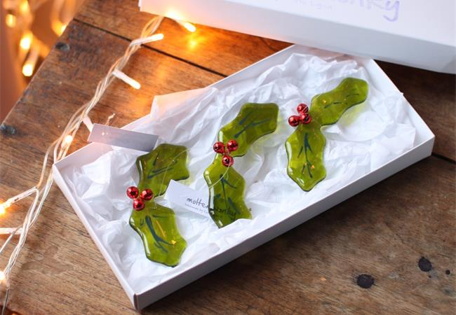 box set of glass holly
