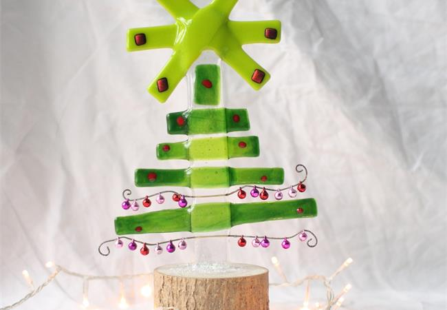 Jingle tree fused glass decoration made by molten wonky