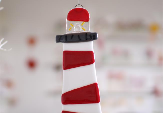 red and white lighthouse fused glass decoration