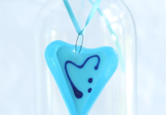 little blue fused glass love heart hanging decoration made by molten wonky