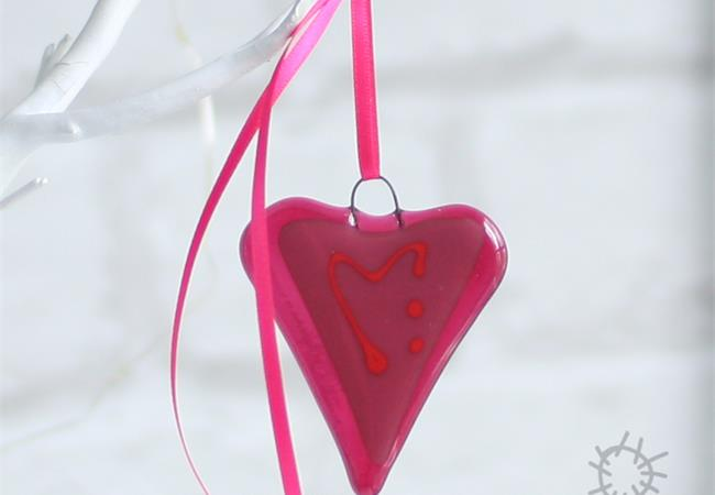 fused glass heart pink
