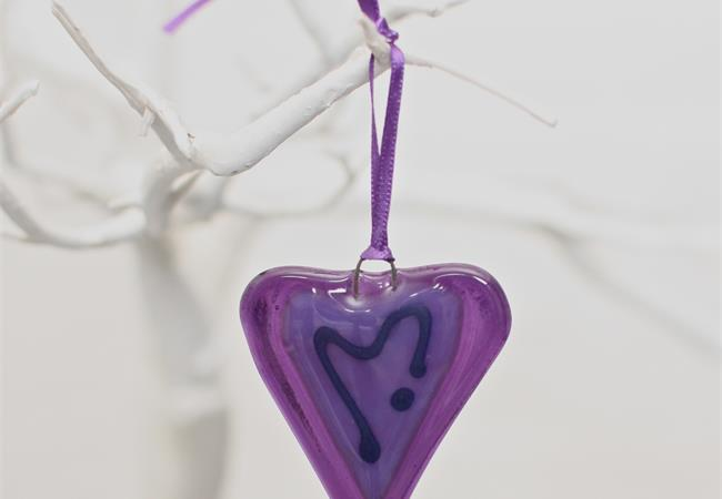 little purple fused glass love heart hanging decoration made by molten wonky