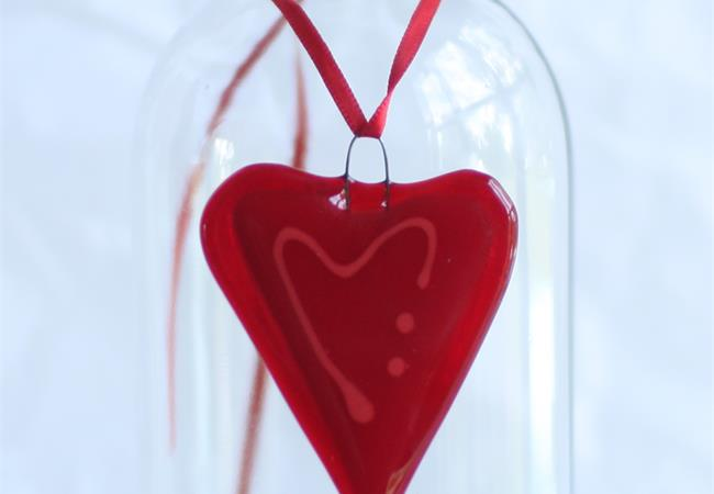 little red fused glass love heart hanging decoration made by molten wonky