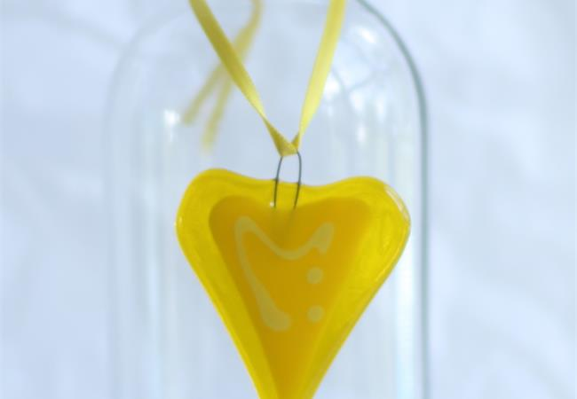 little yellow fused glass love heart hanging decoration made by molten wonky