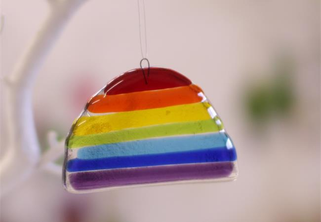 handmade coloured glass rainbow by molten wonky