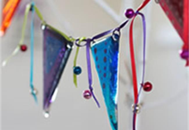 super handmade fused glass bunting from molten wonky