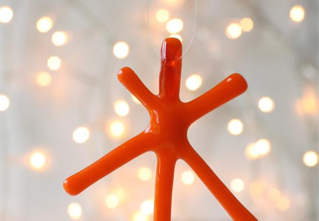 Orange Opaque fused glass star hanging decoration made by molten wonky