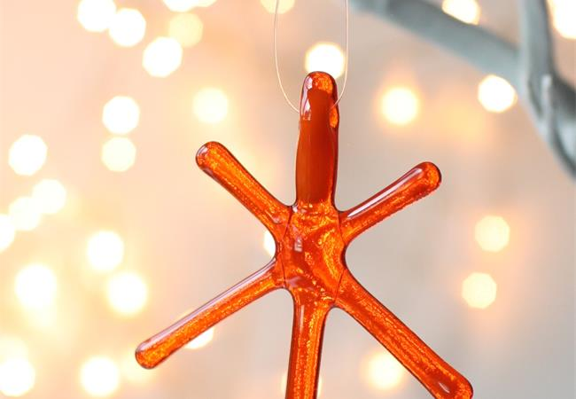 Orange Transparent fused glass star hanging decoration made by molten wonky