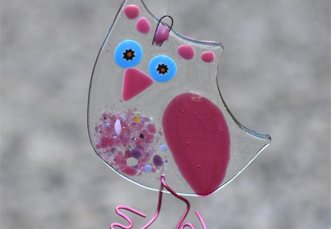 Fused glass Owl hanging decoration handmade by molten wonky