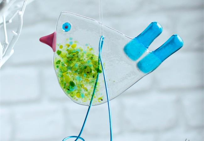 Fused Glass Bird Hanging Decoration