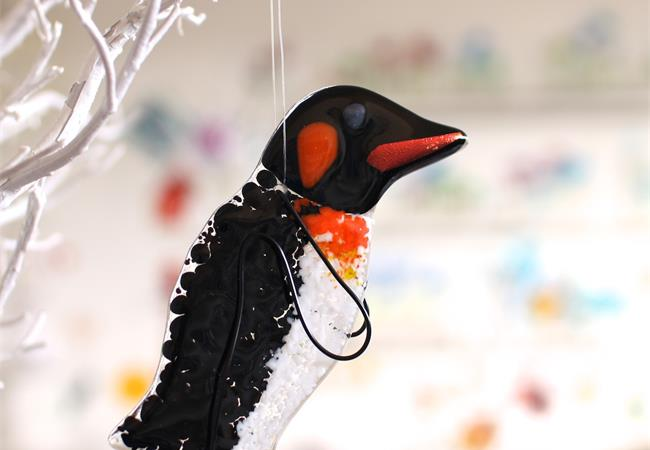 Penguin fused glass hanging decoration made by molten wonky