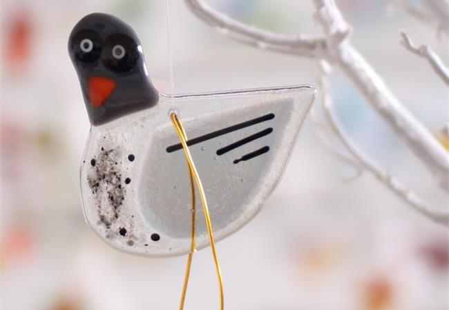 Grey london pigeon fused glass hanging decoration made by molten wonky