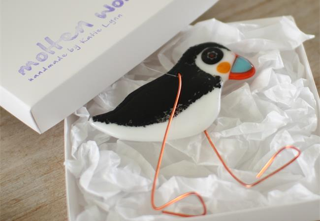 Puffin fused glass hanging decoration made by molten wonky