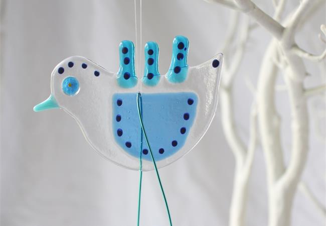 Blue quirky Bird fused glass hanging decoration made by molten wonky