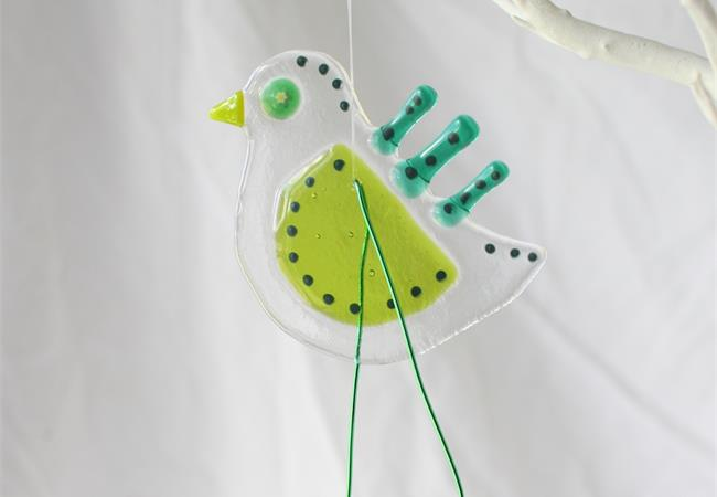 Green quirky Bird fused glass hanging decoration made by molten wonky