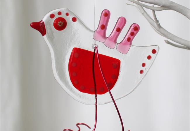 Red quirky Bird fused glass hanging decoration made by molten wonky