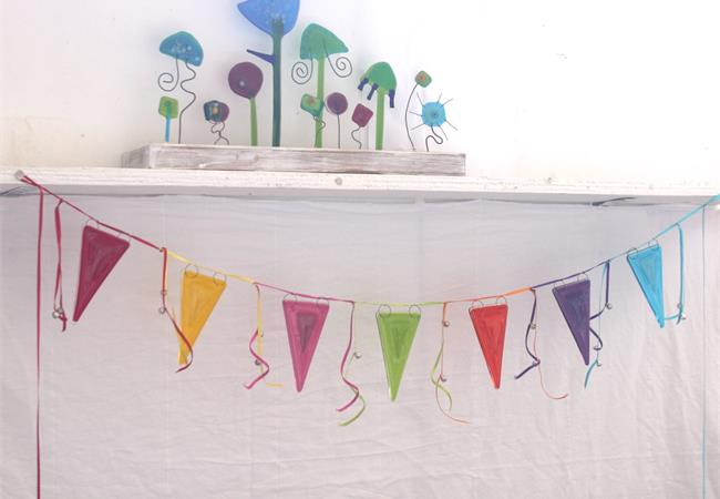 rainbow fused glass bunting with jiggle bells