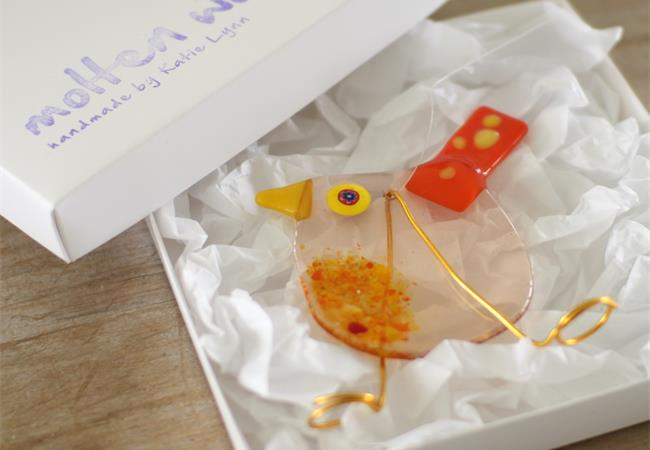 Roundy Bird fused glass hanging decoration made by molten wonky