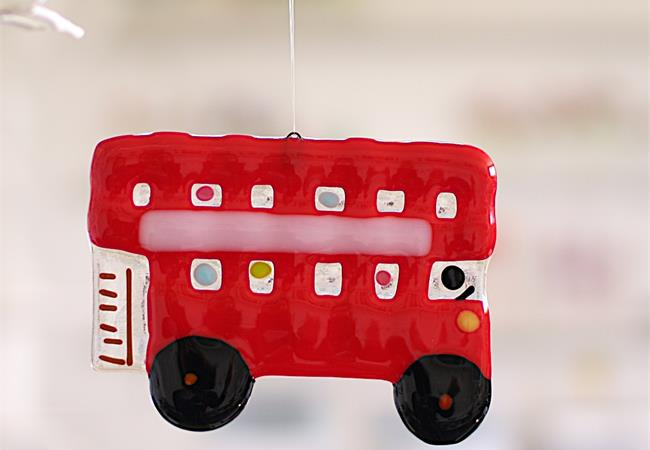 London bus souvenir handmade in fused glass