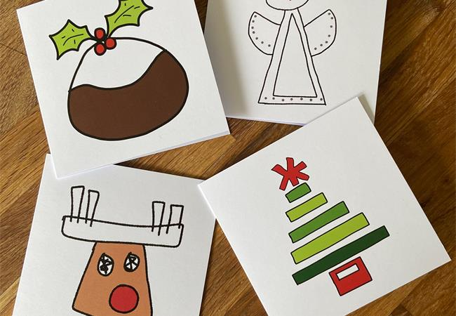4 molten wonky Christmas greeting cards