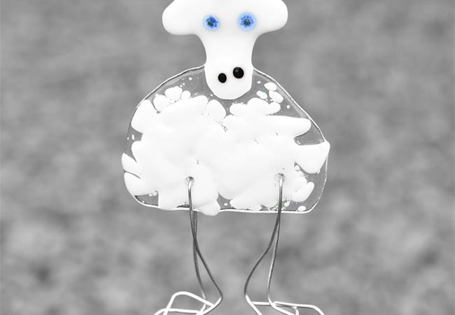 Fused glass Sheep hanging decoration by molten wonky
