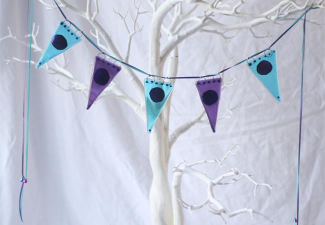 shimer dot blue coloured fused glass bunting made by molten wonky